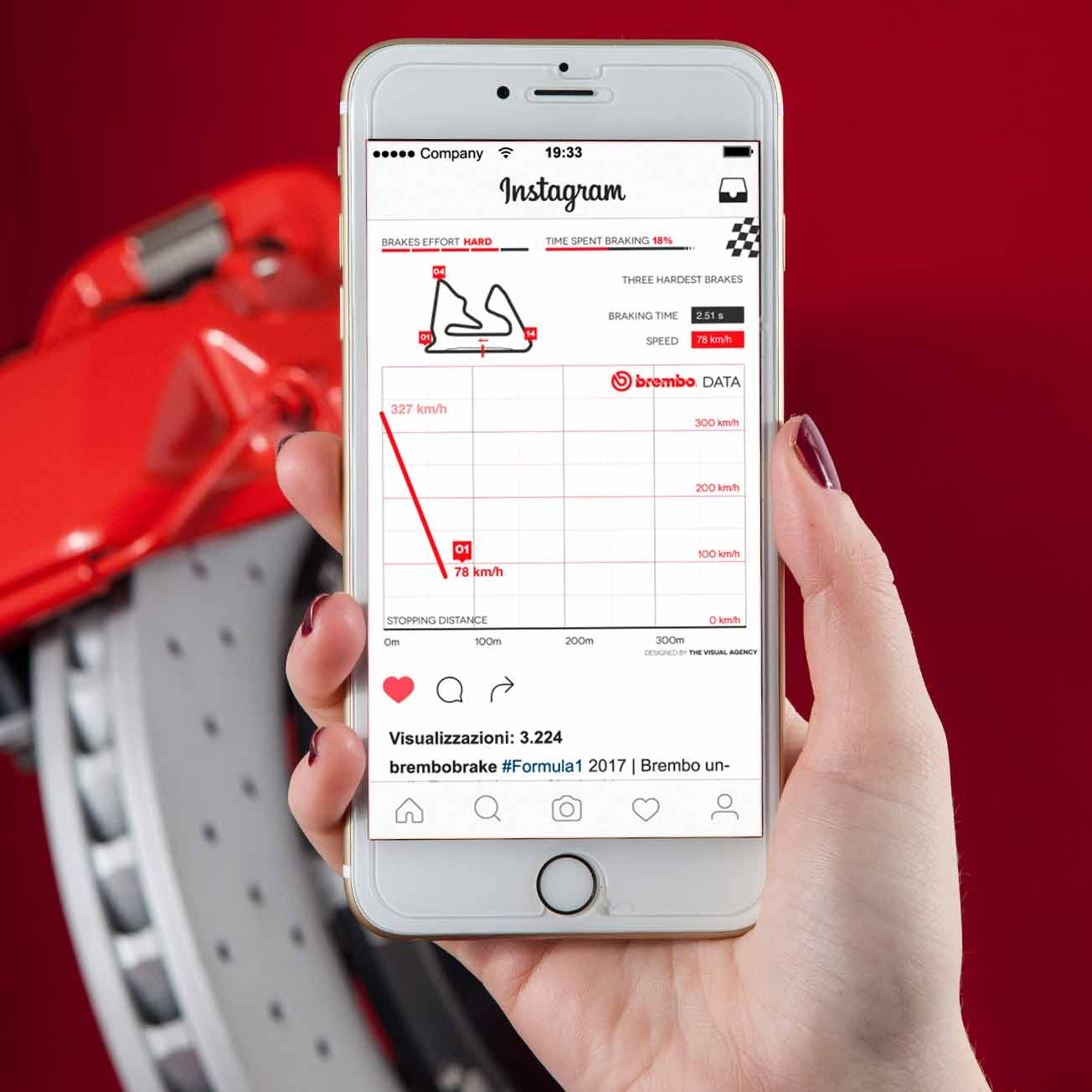 Picture brembo infographic hand with smartphone